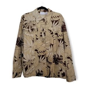 ALFRED DUNNER beige and brown leaf pattern linen collared shirt jacket